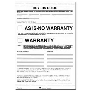 federal buyers guide as is no warranty form pack of 250 ebay rh ebay com Sold as Is Form Printable federal used car buyers guide form