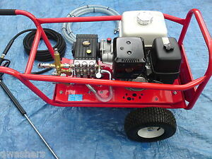 PRESSURE WASHER HONDA GX390 13HP PETROL 21LTRS 200BAR INTERPUMP