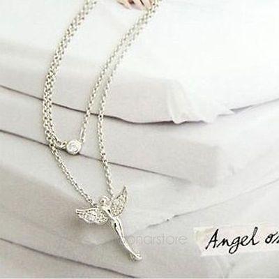Elegant Bib White Gold Plated Rhinestone Angel Tinkerbell Fairy Necklace