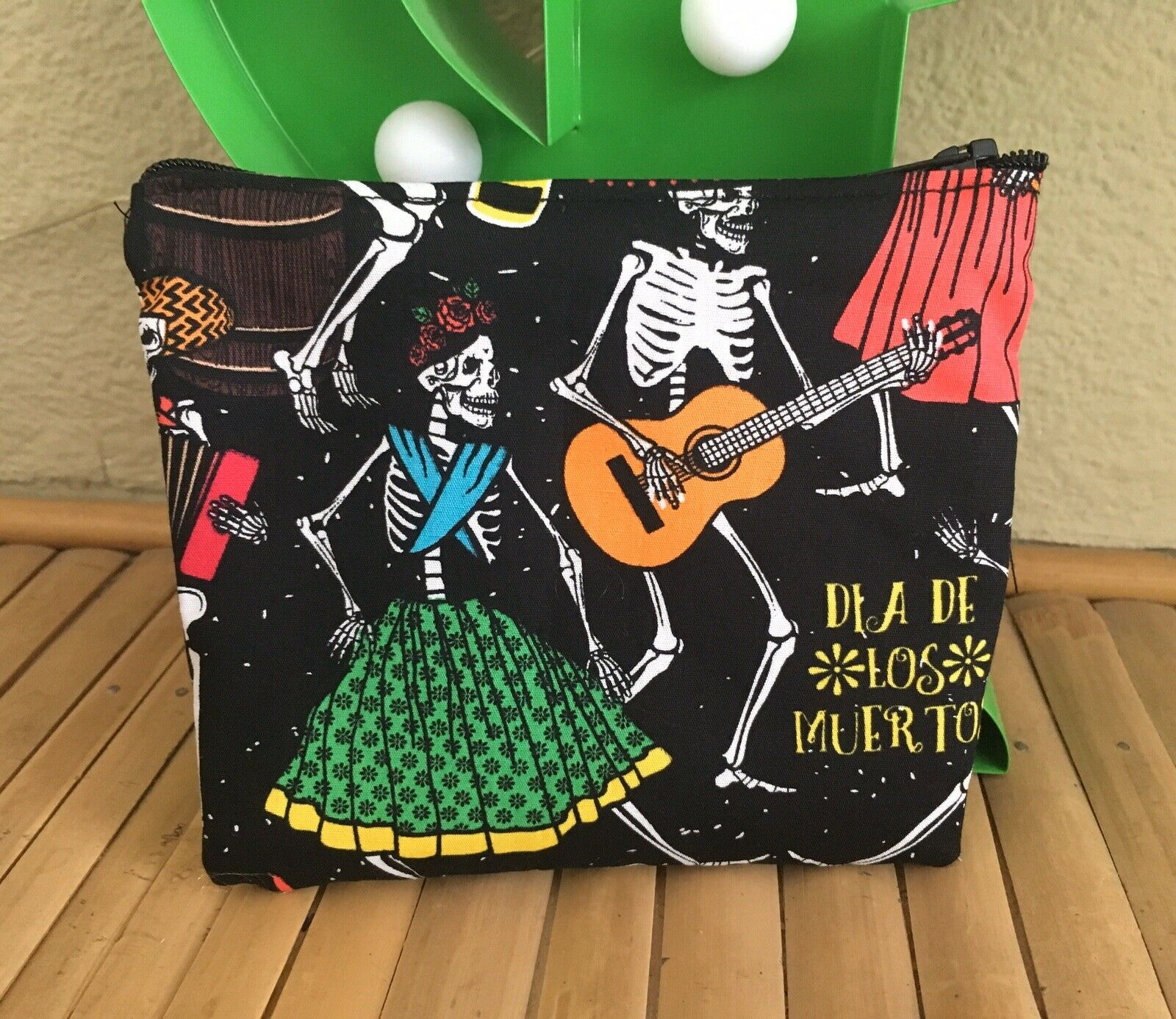 Musical Skull Day Of The Dead Cosmetic Bag +Orange Neon Notebook 2pc Gift Set