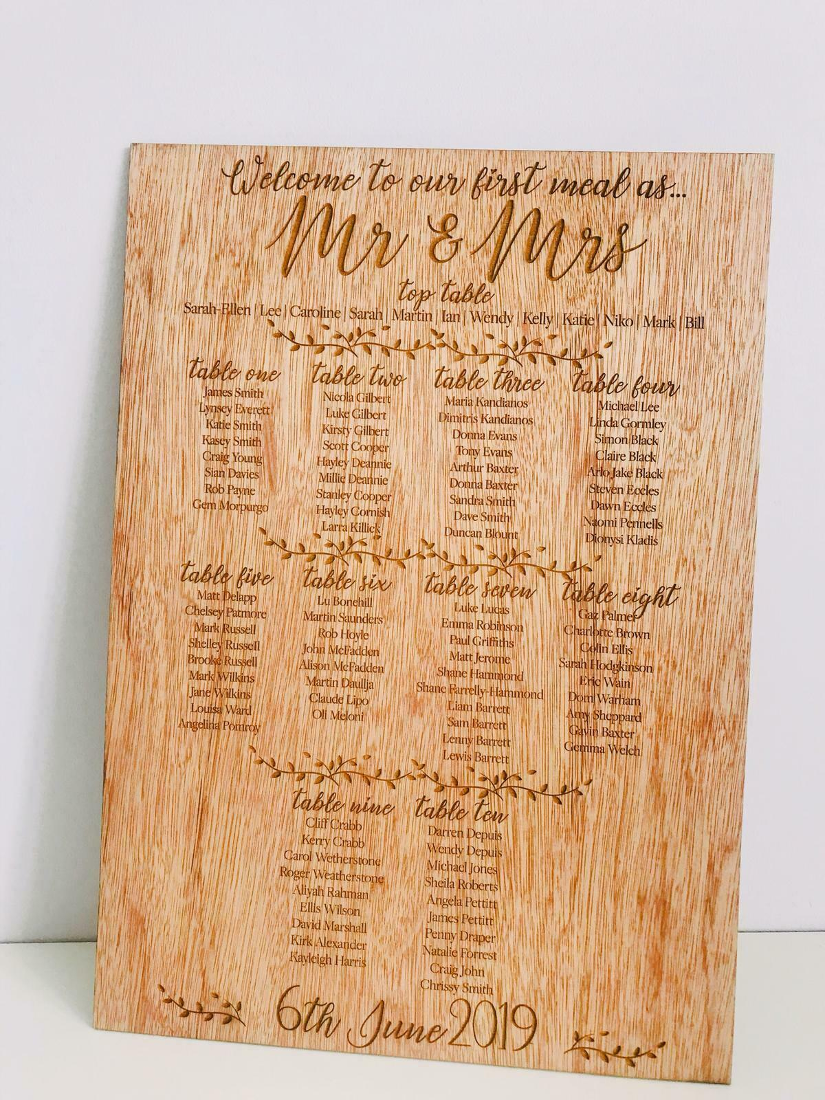 Personalised Rustic Wood Large Engraved Wedding   Event Table Plan c400x590mm