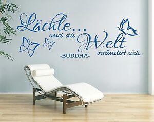 Wandtattoo-Spruch-Laechle-und-die-Welt-Buddha-Zitat-Wandaufkleber-Sticker