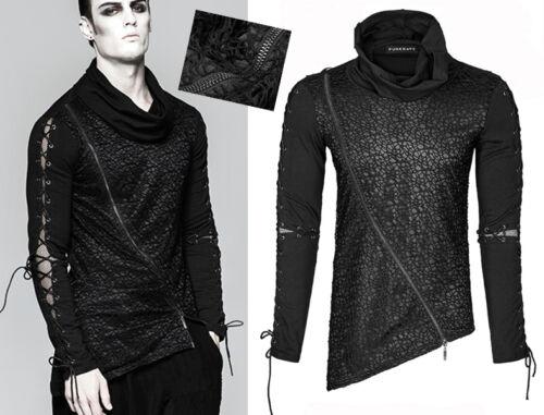 EN STOCK T-shirt haut asymétrique gothique punk fashion résille