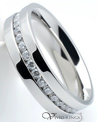 Stainless Steel 6mm Wedding Band Eternity CZ Ring Sizes 7.5 to 12.5