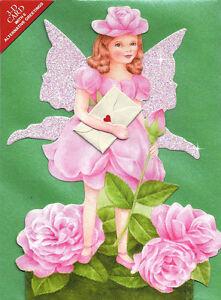 6-Flower-Fairy-Greetings-Cards-Die-cut-with-Glittered-Wings