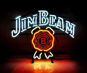 New jim beam whiskey beer bar neon light sign 17x14 ebay image is loading new jim beam whiskey beer bar neon light aloadofball Gallery