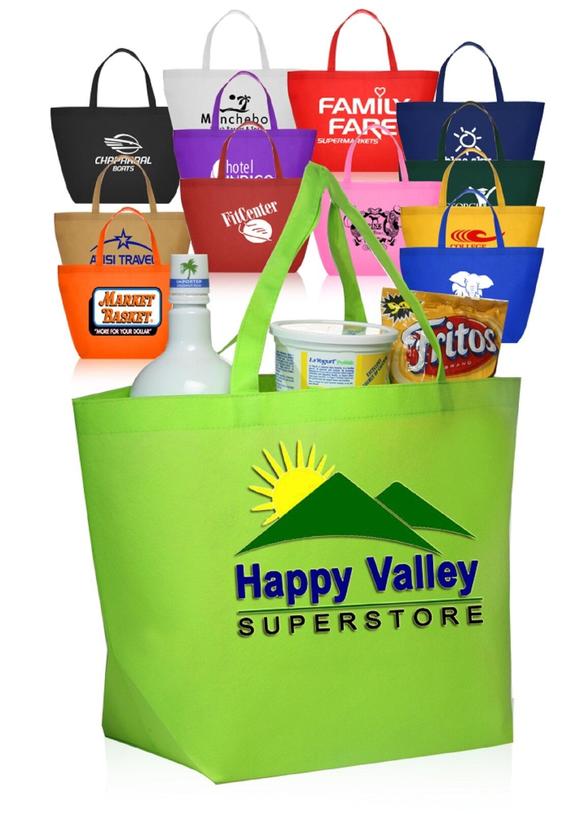 50 Personalized Budget Non-Woven Shopper Tote Bag Printed W  Logo or Message