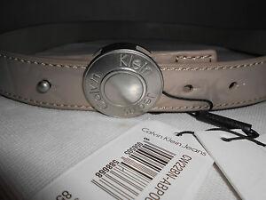 Details about NEW Womens Authentic Calvin Klein Beige Faux PU Belt Size 85 £55