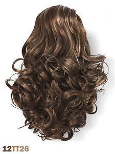 Postiche-extension-boucles-CLIP-cheveux-synthetiques-chatain-2-tons-brillants