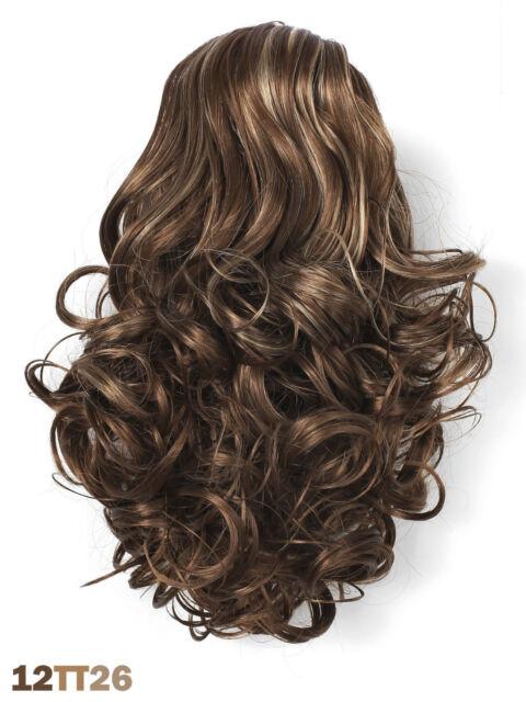 Postiche extension bouclés CLIP cheveux synthétiques châtain 2 tons  brillants