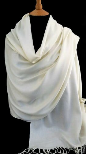 PALE IVORY//OFF WHITE SHAWL QUALITY NATURAL ORGANIC SOFT BAMBOO PASHMINA