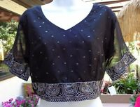 Black Silk Choli Top Decorated W/silvery Gray Sequins & Lined W/satin L-xl