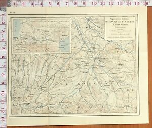 Toulouse Karte.Details Zu Map Battle Plan Operations Between Bayonne Toulouse South Western France 1814