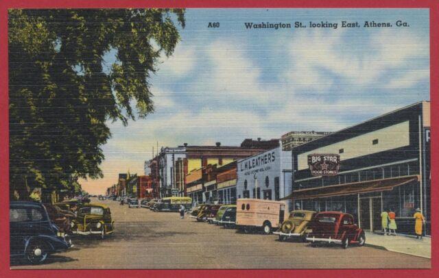 Athens Georgia GA street view autos cars linen postcard