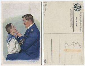 37516-Ganz-der-Papa-Offizier-mit-Sohn-im-Matrosenanzug-alte-Ansichtskarte