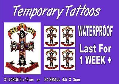 Guns N Roses Temporary Face Body Tattoos Sticker Band Appetite For Destruction Ebay