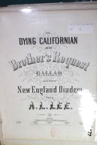 #9877, Mourant Californien, Bros Demande, 1855, Rarement Vu Sheet Music-os.request,1855,seldom Seen Sheet Music Fr-fr Afficher Le Titre D'origine
