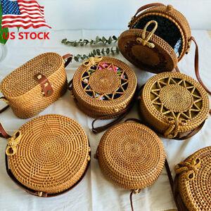 Bali Boho Style Rattan-weaved Bag Handmade Woven Beach Women CrossBody Straw Bag