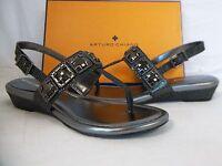 Arturo Chiang 6.5 M Illianna Gunmetal Leather Slingbacks Wedges Womens Shoes