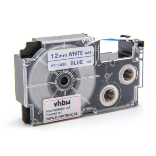 Label Tape 12mm BLAU-weiss für CASIO KL-70E KL-100E