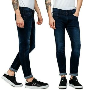 REPLAY-jeans-da-uomo-modello-anbass-slim-pantalone-denim-blu-scuro-elasticizzato