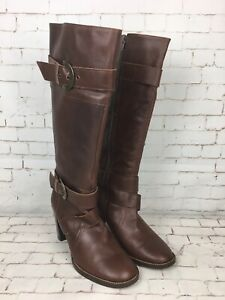 Next-Women-039-s-Brown-Leather-High-Heels-Knee-High-Boots-Size-6