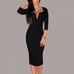 huge selection of b5e9d d77c8 Dettagli su Elegante abito morbido tubino donna nero scollato manica lunga  comodo 3365