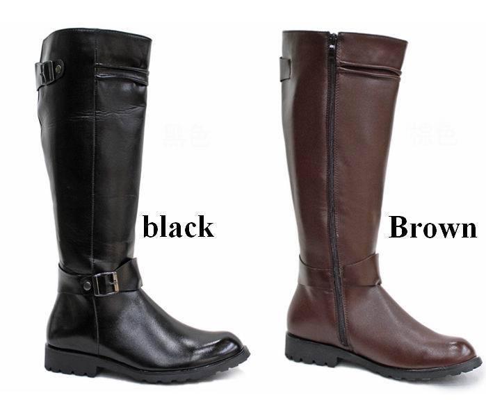 Punk de Cuero para Hombre botas Militares Zapatos hasta la rodilla Equestrian Cálido librar