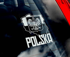 POLSKA - Car Window Sticker - Poland Flag Sign - Polish PIŁKA Football Eagle