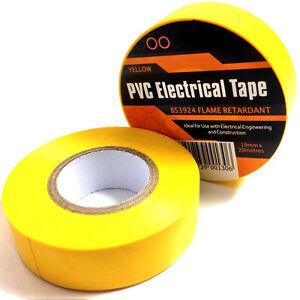 1-x-YELLOW-ELECTRICAL-PVC-INSULATION-INSULATING-TAPE-19mm-x-20m-FLAME-RETARDANT