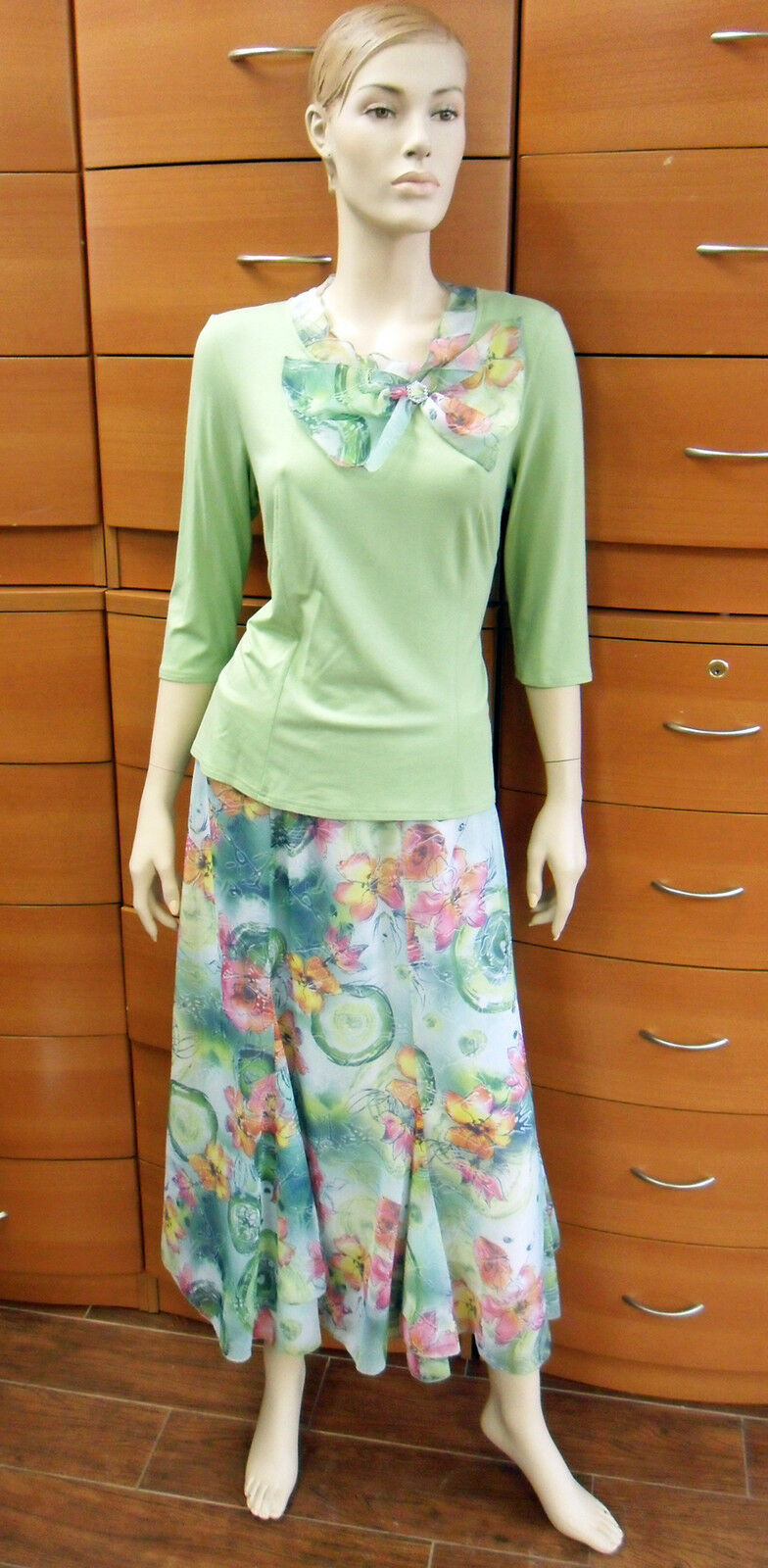 PARTY SKIRT SET Light Green A-line Midi Floral Skirt Set 3 4 Sleeve Blouse