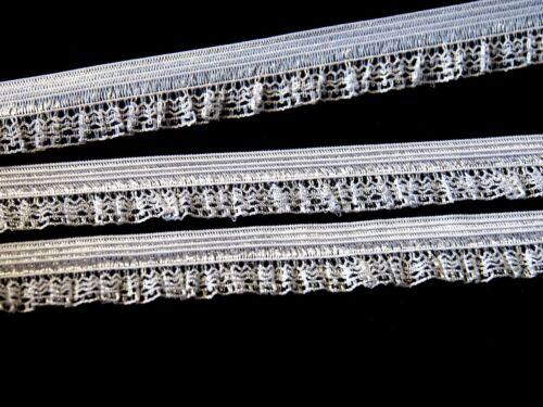 2-10 lfM Ziergummi Elastischespitze Rüschen Abschlussgummi Wäschegummi 16mm weiß
