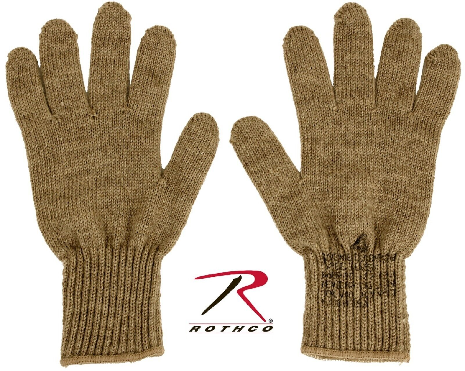 Rothco Coyote Brown Glove Liners - Wool & Nylon Winter Gloves Liner