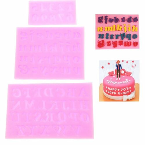 3pcs 3D Silicone Fondant Embossing Mold Baking Tools Number Capital letter