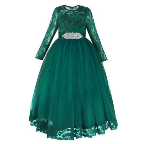 Flower Girl Lace Princess Long Dress for Kid Wedding Bridesmaid Communion Party