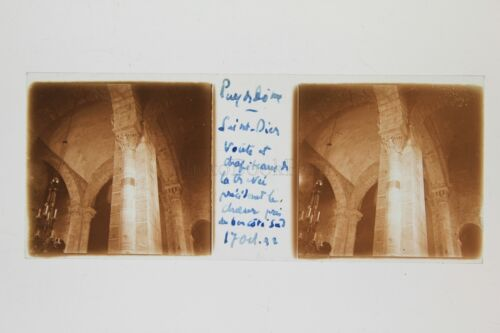 SaintDierD'Auvergne church Puy of the Dome Plate stereo 1932