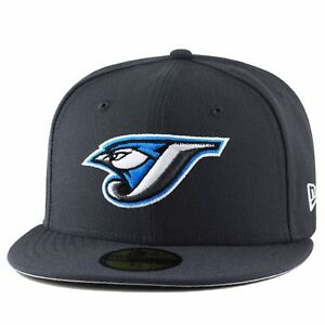 New Era Toronto Blue Jays Fitted Hat 2004 Road All Black//OLD LOGO//Grey Bottom