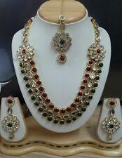 Designer Antique Gold Plated DIAMOND&KUNDAN Necklace EARINGS TIKA Jewellery Set