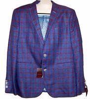 Sand Men's Purple Plaids Linen Fashionable Blazer Jacket Size Us 44 Xl Eu 54