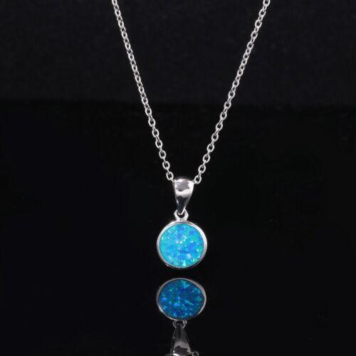Blue Fire Opal Silver Fashion Women Jewelry Gemstone Round Pendant Gift OD7080