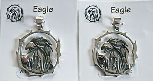 STERLING-SILVER-925-034-EAGLE-034-REAL-GEMSTONE-AMULET-PENDANT-JEWELRY
