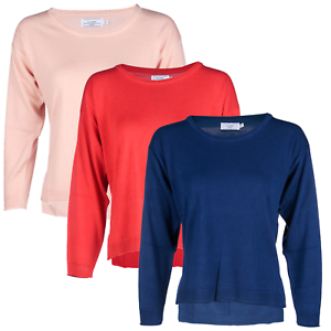 Blu-Cherry-Girls-Women-039-s-Crew-Round-Neck-knitted-Pullover-Jumper-Cashmere-Like