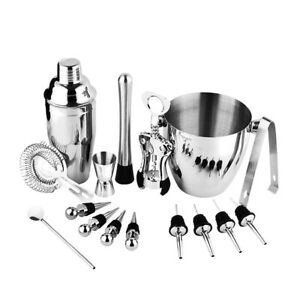 Cocktail Shaker 4pcs// Set Professional Durable Stainless Steel Drinking Cocktail Wine Shaker Mixing Tool Set in Home Bar Party Tools Kit 15//30ml Bartender Kit
