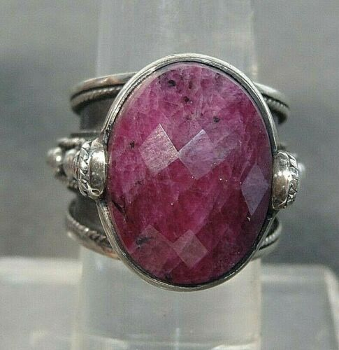 Large Ruby Sterling Silver Ring size 8 - image 1