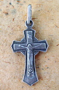 Rare Intelligent Silver Cross Russian Sterling Jesus Christ Crucifiction Antique Orthodox