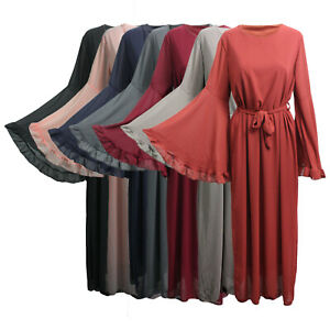 Womens-Ladies-Jilbab-Bell-Sleeve-Long-Maxi-Belted-Dress-Cocktail-Kaftan-Dubai