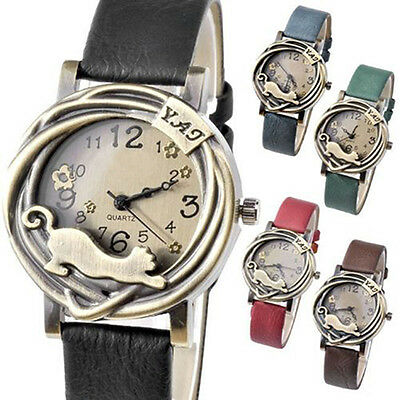 Women Chic Vintage Cat Flower Case Faux Leather Band Quartz Analog Wrist Watch