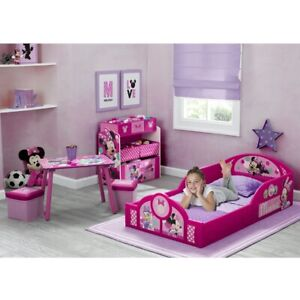 Toddler Bedroom Furniture Set Minnie Mouse Girls Bed Table