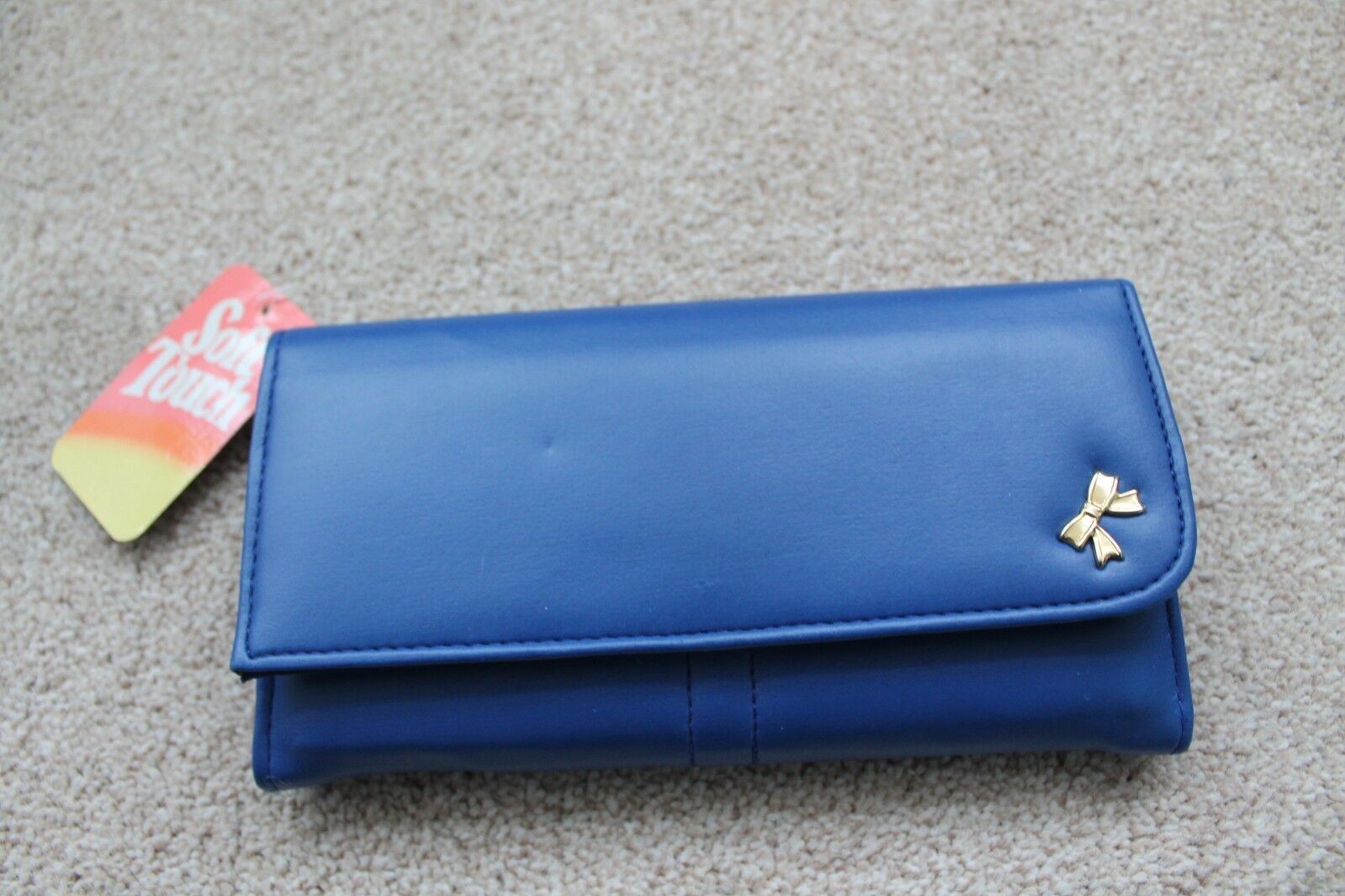 ***NEW*** Soft Touch Leather Envelope Purse * Vibrant Blue Inner purse Keyring