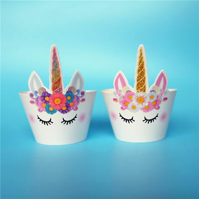 Magnificent 12X Unicorn Birthday Cup Cake Wrappers Decorations Decorating Kit Funny Birthday Cards Online Overcheapnameinfo